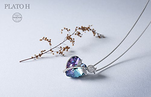 Swarovski Element Necklace Color Changing Crystal Rose Love Pendant Necklace for Women, Birthday Birthstone Jewelry Gifts for Girl, Amethyst Purple Pink, 18\