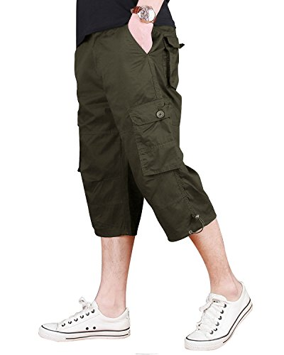 CRYSULLY Men's Cargo Short, Cropped Pants, Long Shorts for Men, Military-Style Solid Cargo Capri Shorts Army (Cropped Pants Shorts)