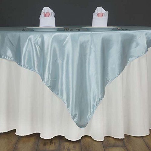 "Efavormart 5pcs 60"" Satin Square Tablecloth Overlay for Wedding Catering Party Table Top Decorations Light Blue"