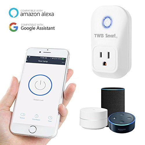 TWB Smart Wi-Fi Smart Plug, Compatible with Alexa and Works with Google Home. Smart Home Electrical Outlet Timer Compatible with Amazon Echo Dot Accessories. For Home Automation (2-Pack) by TWB Smart (Image #1)