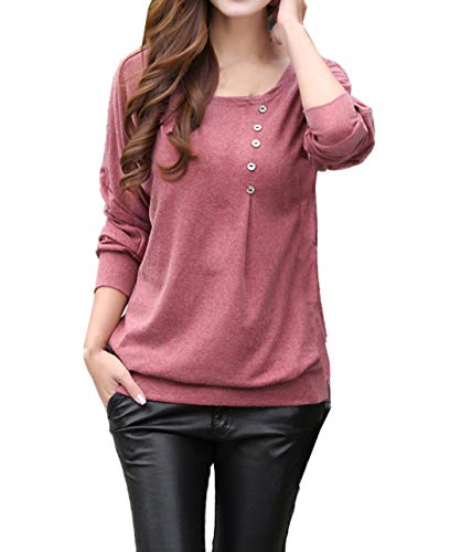 Haricot Col Tops Automne Tunique Simple Tees Shirts Blouse Slim Jumpers Rond Printemps Rouge Sweat Long Shirts Hauts T Longues Pulls Fashion Manches Casual Femmes Fashion et ttaqSwU