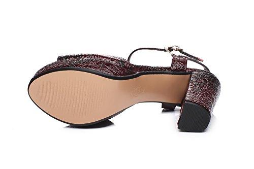 AllhqFashion Womens Buckle Open Toe High Heels Cow Leather Solid Sandals Claret RVVX0rv6y