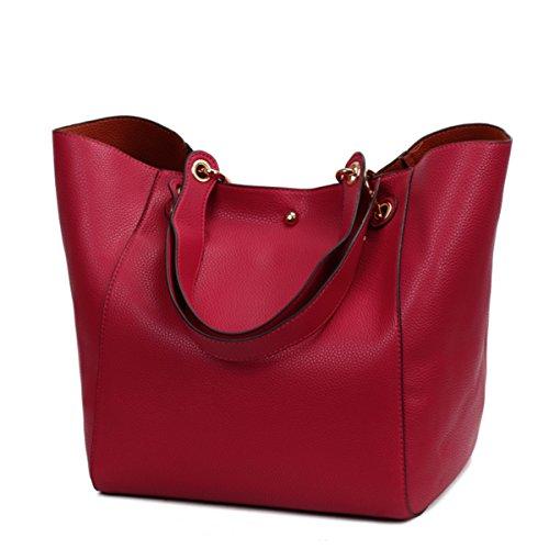 Bolso de hombro impermeable de la moda Bolso de cuero sintético Mujeres Niñas Bolso grande del totalizador Rojo