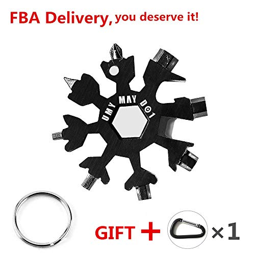 NEW Stainless Steel Snowflake Multi-Tool,18-in-1 Easy N Genius for Portable Keychain screwdriver Bottle opener Pocket Fatherday Gift Incredible Tool Bicycle and Outdoor Camping EDC Tools (Black)