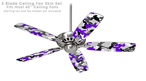 Sexy Girl Silhouette Camo Purple - Ceiling Fan Skin Kit fits most 42 inch fans (FAN and BLADES NOT INCLUDED)