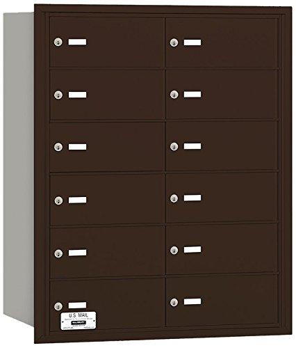 Salsbury Industries 3612ZRU 4B Plus Horizontal Mailbox, 12 B Doors, Rear Loading, USPS Access, Bronze