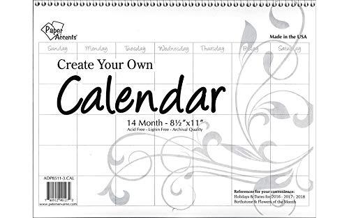 Paper Accents CYO Calendar 8.5x11 14 Month Landscape Blank White