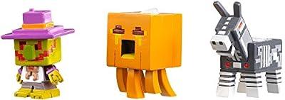Minecraft Halloween Series Action Figure (3 Pack) - Village Watcher, Pumpkin Ghast & Robot Donkey from Mattel
