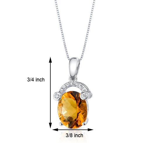Revoni 14ct or blanc 585/1000 ovale Coupe 2.23 carats Citrine Pendentif diamant