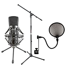 Cad Audio GXL2600 USB Premium Large Diaphragm Cardoid Condenser Microphone With 10' USB Cable + On Stage MS7701B Euro Boom Mic Stand + CAD 15A Pop Filter on 15-Inch Gooseneck