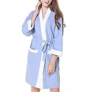 Mujeres Kimono Batas Algodón Ligero Bata Corta Tejido ...