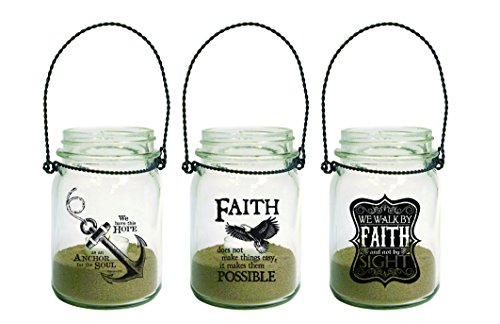 3-Piece Hanging Mason Jar Lanterns with Tealight Anchor Eagle Faith by Divinity Boutique by Divinity Boutique