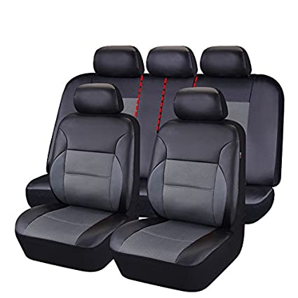 Amazon.com: CAR PASS 11 Pieces Leather Universal Car Seat Covers Set ...