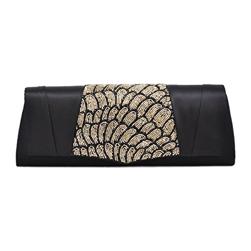 La Regale Women's Satin Flap Clutch with Partial Beads, Black/Gold La Regale Satin Flap Clutch