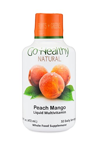 Go Healthy Natural Fruit & Plant-Based Whole Food Liquid Multivitamin w/Organic Folate-32 Servings,16 Ounces.