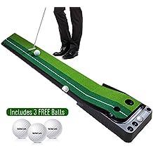 WINCAN Golf Putting Mat Green Indoor Outdoor–Auto Ball Return Function–Portable Golf Court Mini Training Aids - Extra Long Real-Like Grass Putting Trainer Set–3 Practice Bonus Balls