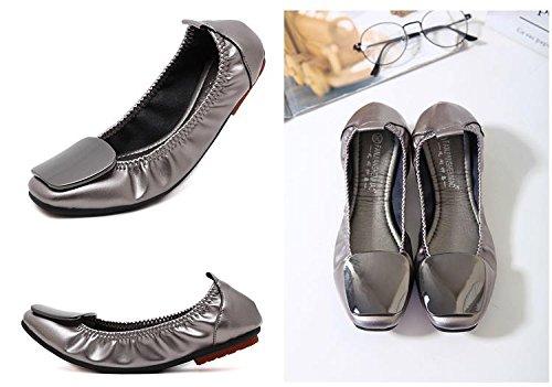 Plat Chaussure Noir Avec L'empeigne Esthétique Éléments Vogue Talon Légère Confortable Ballerine En Carrée Jrenok Femme Et Poli Tête tqIYxatd