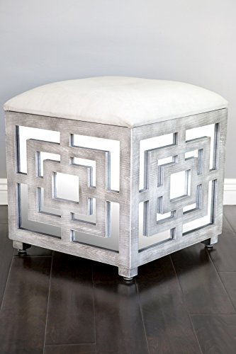 Statements by J Reena Mirrored Ottoman w Storage Box, 21 Inch Tall