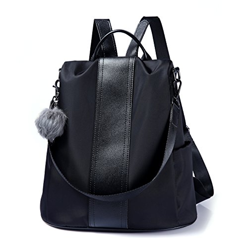 Women Backpack Purse Waterproof Nylon Anti-theft Rucksack Lightweight Shoulder Bag (Black) ()