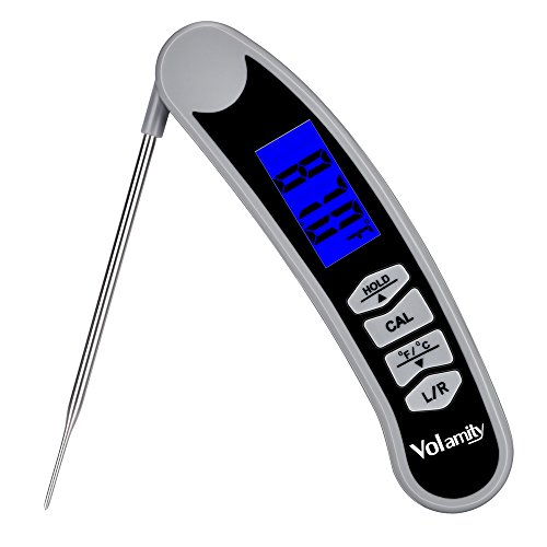 Volamity Digital Meat Thermometer, Instant Read Cooking Thermometer with Collapsible Stainless Steel Probe for Kitchen, Food, Candy, Milk, BBQ Grill Smokers, Left Hand Display & Super Fast (Pocket Stainless Thermometers Steel)