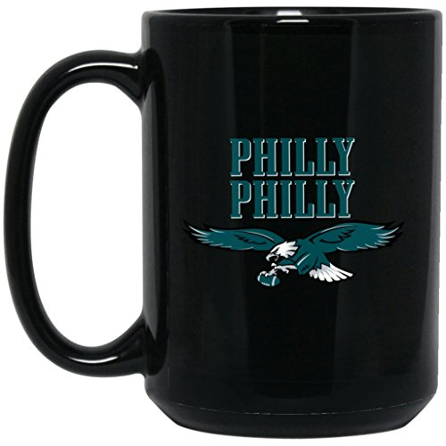 Glass Eagle Mug (Philadelphia Eagles Coffee Mug | Eagles Mug | PHILLY PHILLY | 15 oz Black Ceramic Cup Great For Tea & Hot Chocolate | NFL NFC National Football League | Perfect Unique Gift For Any Eagles Fan!)