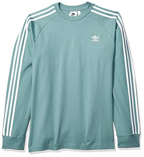 8211d8a72f adidas Originals Men's 3-Stripes Long Sleeve T-Shirt, Vapour Steel, Large