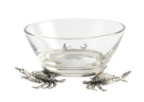 Coastal Christmas Tablescape Décor - Small 3-crab pewter base clear glass dip bowl by Vagabond House