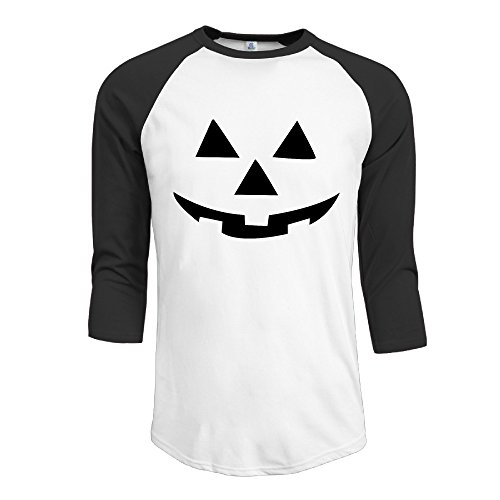 [CALZ Men's Pumpkins Halloween Logo Three-Quarter Sleeve O-Neck Tshirts S Black] (Customes Halloween Maternity)
