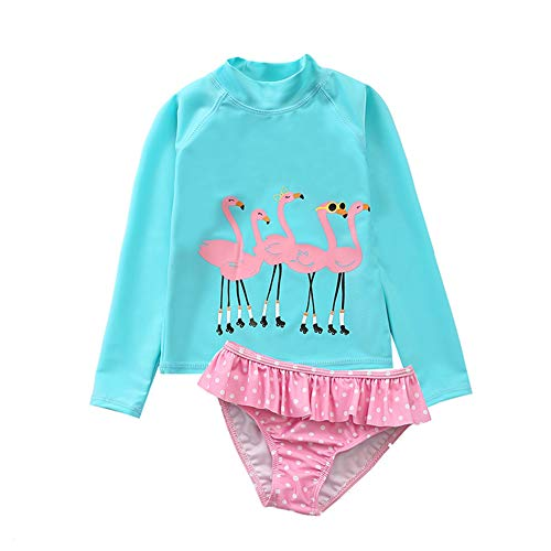 (Baby Girl's Swimsuit Rash Guard Two Piece Long Sleeve Swimwear Toddler Kid Sunsuit Bathing Suit Flamingo S/3)