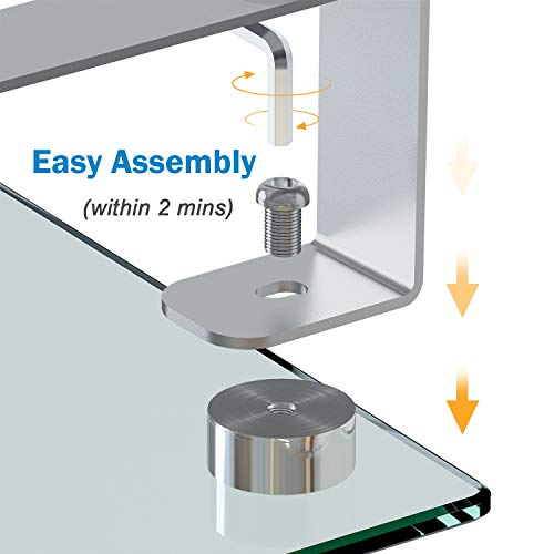 Glass Monitor Stand - Monitor Stand Riser with Anti Slip Legs, Tempered Glass Premium Ergonomic Screen Holder Suitable for LED LCD TV Monitor, Notebook, Computer up to 44lbs by HUANUO (Image #3)