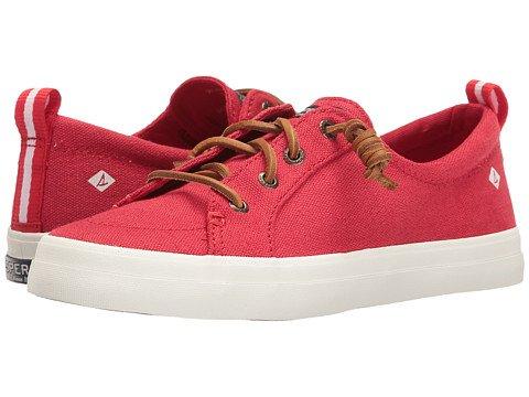 ハリウッドくしゃみシャイニング(スペリートップサイダー) SPERRY TOPSIDER レディースウォーキングシューズ?カジュアルスニーカー?靴 Crest Vibe Washed Linen Red 6 23cm M (B) [並行輸入品]