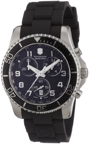 Victorinox Swiss Army Men's 'Maverick' Swiss Quartz Stainless Steel and Rubber Sport Watch, Color:Black (Model: 241431)