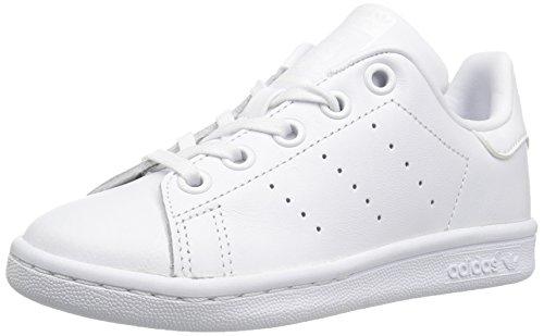 adidas Originals Unisex-Kids Stan Smith C Sneaker, White/White/White, 1 Medium US Little (White Leather Kids Footwear)