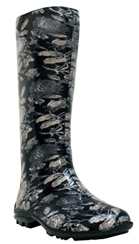 Ladies Womens New Waterproof Rubber Festival Rain Mud Snow Girls Wellington Boots Wellies Sizes UK 3-8 Black Multi