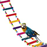 XMSSIT Colorful Bird Ladders,10 Step Wooden Rainbow Bridge Swings Toys for Parrot Parakeet Cockatiel Hamster Macaw Pet Training