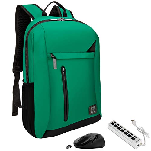 VanGoddy Jade Green Anti-Theft Laptop Backpack w/USB Hub & Mouse Suitable HP Pavilion