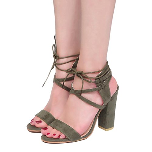 Lolittas High Heels Sandals for Women,Wedding Bridal Black Leather Block Heel Peep Toe Lace up Strappy Slingback Gladiator Shoes Size 2-10 (UK 8-41, Amy Green)