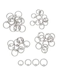 "10pcs Steel Captive Bead Rings 10g,12g,14g,16g,18g Wholesale Lot Body Jewelry (18g - diameter 1/4"")"