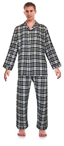 (RK Classical Sleepwear Men's 100% Cotton Flannel Pajama Set, Size Medium Grey)