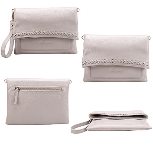 Leather Shoulder with Strap Women Clutch Shoulder Purses Purse amp; Women Wrislet Bags for new Gray Crossbody Geya fznw5qxPn