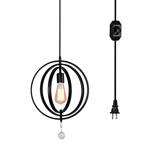 Meridian Pendant Lamp (HMVPL Plug in Sphere/Orb Chandelier with 15 Ft Hanging Cord and on Line On/Off Dimmer Switch, a Unique Rustic Industrial Meridian Pendant Light Fixture)