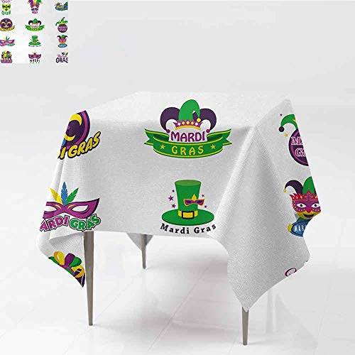 Elegant Waterproof Spillproof Polyester Fabric Table Cover Mardi Gras Set of Carnival Masks Hats and Fleur De Lis Symbols Colorful Joyous Collection Soft and smooth surface W50