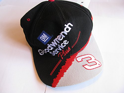 Gm Goodwrench Racing - Dale Earnhardt Sr #3 GM Goodwrench Service Plus Large #3 On Bill Black With White Silver & Red Accents Hat Cap OSFM Chase Authentics