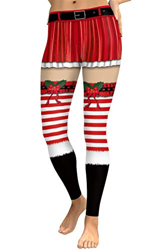 COCOLEGGINGS Ladies Christmas Striped Print Elastic Tights Leggings Wine Red XL