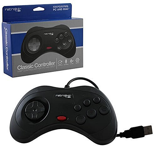 Retro Bit - Retrolink USB SEGA Saturn Classic Controller Mac/PC Compatible– Black