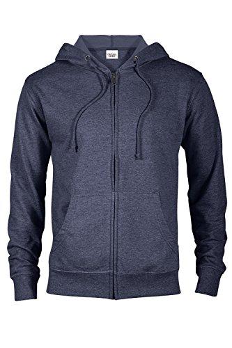 Casual Garb Hoodies for Men Heather French Terry Full Zip Hoodie Hooded Sweatshirt Denim Heather -