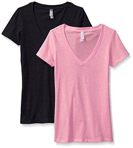 Women's 2 Pack Short Sleeve T Shirts Easy Tag V Neck Soft Cotton Blend Undershirt Tees (6640)