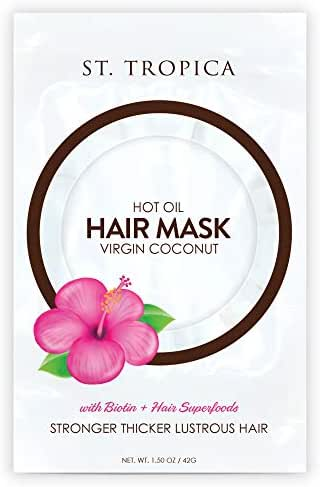 ST. TROPICA Coconut Oil Hair Mask Treatment for Dry or Damaged Hair - Split Ends & Frizzy Hair Repair, Deep Conditions and Promotes Hair Growth - VEGAN - (1.5oz)