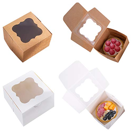 25 Pack White Bakery Box with Window 4x4x2.5 inch Eco-Friendly Paper Board Cardboard Gift Packaging Boxes for Pastries, Cookies, Small Cakes, Pie, Cupcakes (White, 25)