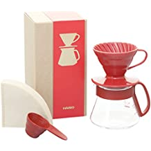Hario V60 Coffee Dripper and Pot Set (Size 01, Red)